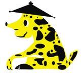 Het geïsoleerde cijfer van een fantastisch dier die op een zittingshond in een hoed lijken royalty-vrije illustratie