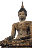 Het geïsoleerde Gezette Beeld van Boedha in Wat Mahathat Temple bij het Historische Park van Sukhothai, Thailand Stock Afbeelding