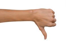 Het geïsoleerde Lege open vrouwenwijfje dient een Duim onderaan positie inzake een witte achtergrond in Stock Foto's