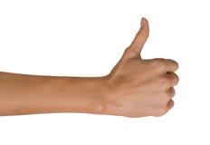 Het geïsoleerde Lege open vrouwenwijfje dient een Duim op positie inzake een witte achtergrond in Stock Foto