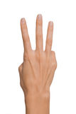 Het geïsoleerde Lege open vrouwenwijfje dient een positie van nummer Drie op een witte achtergrond in Stock Fotografie