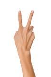 Het geïsoleerde Lege open vrouwenwijfje dient positie van Vredesteken op in een witte achtergrond Stock Afbeeldingen