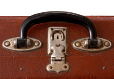 Het geïsoleerde Oude Uitstekende Handvat van Dusty Brown SuitcaseIsolated van een Oude Vinatge Dusty Brown Suitcase Stock Afbeelding