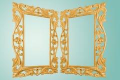 Het geïsoleerde Retro Kader Handcrafted van de Stijl Antieke Vergulde Gouden Spiegel Stock Afbeeldingen