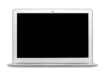 Het geïsoleerde zilveren notitieboekje zwarte scherm stock foto
