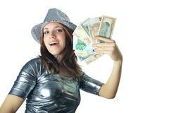 Het geïsoleerdei meisje van het casino met zilveren hoed Royalty-vrije Stock Afbeelding
