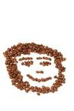 Het geïsoleerden geglimlacht gezicht van de koffie Stock Afbeelding