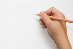 Het geïsoleerdet kindhand schrijven Royalty-vrije Stock Foto