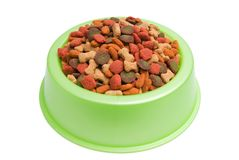 Het Geïsoleerdet Wit van het Voedsel voor huisdieren Kom op Achtergrond Stock Afbeelding
