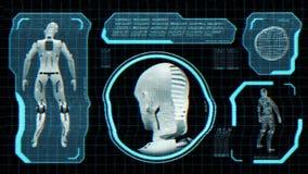 Het geanimeerde vervormde monitorscherm met robotblauwdruk in sc.i-de stijl van FI Lijn-bekwaam het 3d teruggeven royalty-vrije illustratie