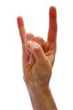 Het gebaar van de duivel op wit Royalty-vrije Stock Foto's