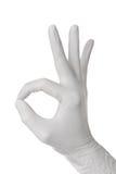 Het gebaar van de hand in handschoen Stock Foto's