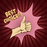 Het gebaar van de hand Opgeheven duimen omhoog Het beeld in pop-artstijl Uitstekend beeld met halftinten vector illustratie