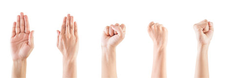Het gebaar van de hand van vrouw stock foto's