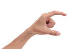 Het gebaar van de mensenhand op een geïsoleerde witte achtergrond Teken i van de mensenhand Royalty-vrije Stock Foto