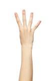 Het gebaar van de vier die vingershand op witte achtergrond wordt geïsoleerd Stock Fotografie