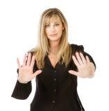Het gebaar van het vrouweneinde met handen Stock Fotografie