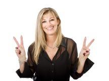 Het gebaar van het vrouwensucces stock afbeelding