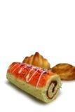Het gebakje van de de rolladecake van de aardbei Stock Fotografie