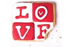 Het gebeten Koekje van de Dag van de Valentijnskaart Royalty-vrije Stock Foto's
