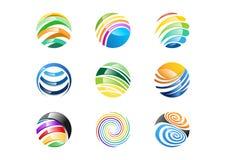 Het gebied, cirkel, embleem, vat globaal elementenbedrijf, oneindigheid, Reeks van samen het ronde vectorontwerp van het pictogra royalty-vrije illustratie