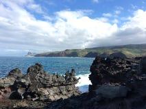 Het gebied die van het lavagebied Kahakuloa-hoofd bekijken Royalty-vrije Stock Afbeeldingen