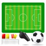 Het gebied en de apparatuur van het voetbal Royalty-vrije Stock Foto's