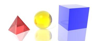 Het gebied en de kubus van de piramide stock illustratie