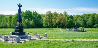 Het gebied van Borodino Monumentenafdeling Neverovskiy en techniektroepen Stock Foto's