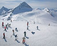 Het gebied van de de gletsjerski van Hintertux in de Oostenrijkse Alpen Royalty-vrije Stock Foto's