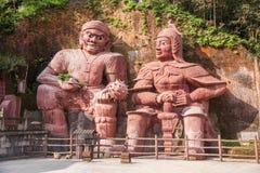 het gebied van de de Stadsschool van Enshi van de 4 strijdersleider aan beide kanten van de klip Stock Afbeelding