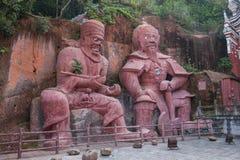 het gebied van de de Stadsschool van Enshi van de 4 strijdersleider aan beide kanten van de klip Royalty-vrije Stock Afbeeldingen
