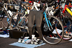 Het Gebied van de Overgang van Triathlon Royalty-vrije Stock Foto's