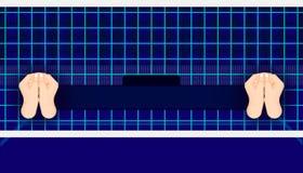Het gebied van de salvobal linker rechts klaar aan eerlijk spel de verschillende teamgelijke toont de tijd en de score van de naa stock illustratie