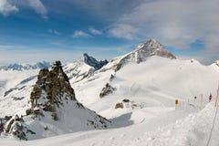 De helling van de ski, Hintertux, Oostenrijk Royalty-vrije Stock Fotografie
