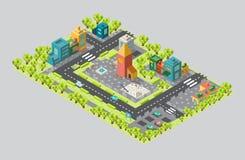 Het gebied van de stad met de toren en straten in isometrisch Royalty-vrije Stock Afbeeldingen