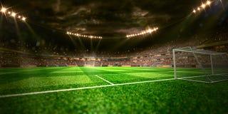 Het gebied van het de arenavoetbal van het nachtstadion Stock Foto