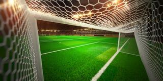 Het gebied van het de arenavoetbal van het nachtstadion Stock Afbeelding