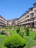 Het gebied van het hotel met tuin stock fotografie