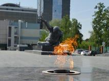 Het gebied van het Park van Gorky bij de eeuwige vlam Het monument van de onbekende militair kazan Royalty-vrije Stock Afbeeldingen