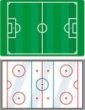 Het gebied van het voetbal en van het hockey Stock Foto