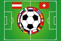 Het gebied van het voetbal met 16 vlaggen Stock Afbeelding