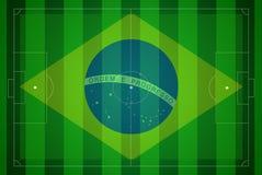 Het gebied van het voetbal met de kop van de de kaartwereld van Brazilië 2014. royalty-vrije illustratie
