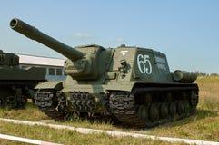 HET GEBIED VAN MOSKOU, RUSLAND - JULI 30, 2006: Sovjet zware houwitser SU- Stock Fotografie