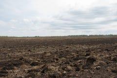 Het gebied, wordt akkerland voorbereid op het zaaien van gewassen Stock Foto