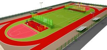 Het gebieds 3d model van de sport dat op wit wordt geïsoleerde Stock Afbeeldingen