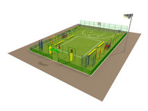 Het gebieds 3d model van de sport dat op wit wordt geïsoleerde Stock Afbeelding