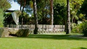 Het Gebiedsschuif van de huwelijksceremonie stock videobeelden