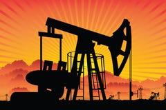 Het gebiedszonsondergang van de oliepomp Royalty-vrije Stock Fotografie