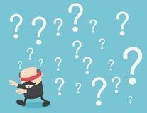 Het geblinddochte zakenman lopen van vraagtekens stock illustratie